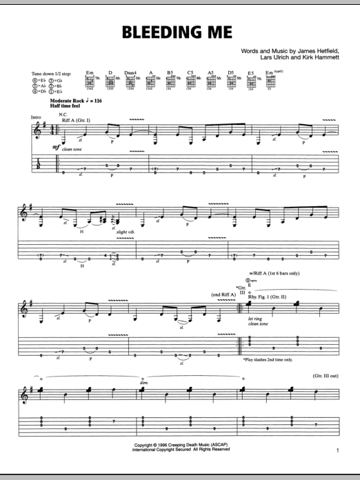 Bleeding Me Guitar Tab by Metallica (Guitar Tab u2013 78003)