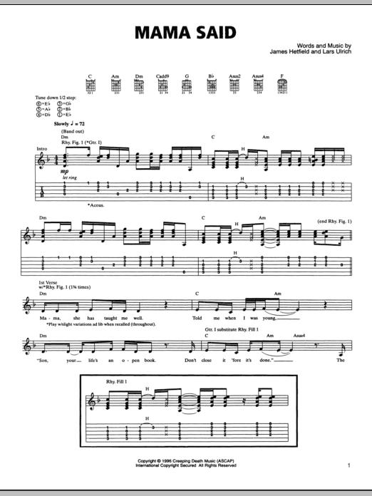 Tablature guitare Mama Said de Metallica - Tablature Guitare