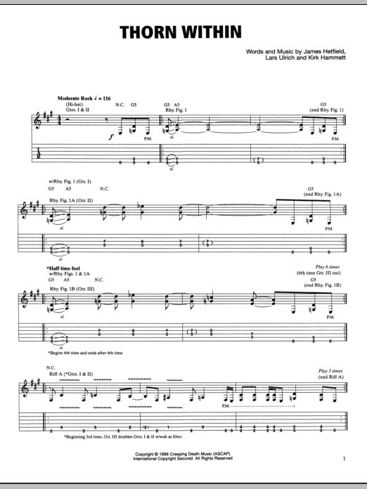Tablature guitare The Thorn Within de Metallica - Tablature Guitare