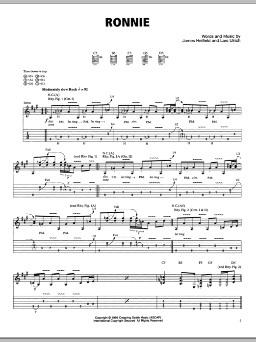 Tablature guitare Ronnie de Metallica - Tablature Guitare