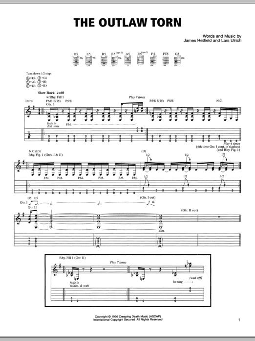 Tablature guitare The Outlaw Torn de Metallica - Tablature Guitare