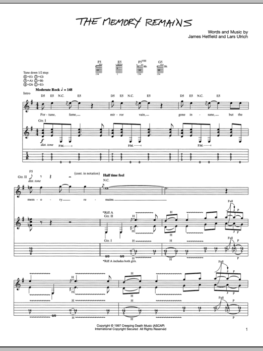 Tablature guitare The Memory Remains de Metallica - Tablature Guitare