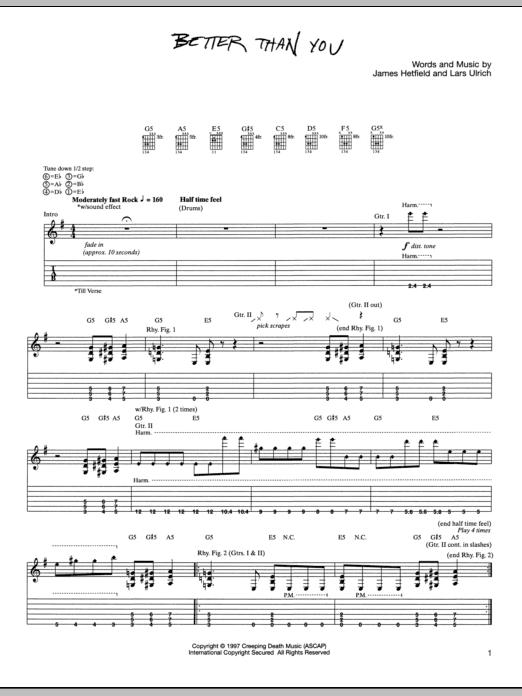 Tablature guitare Better Than You de Metallica - Tablature Guitare
