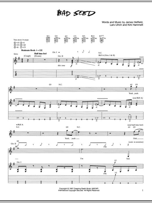 Tablature guitare Bad Seed de Metallica - Tablature Guitare