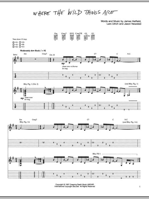 Tablature guitare Where The Wild Things Are de Metallica - Tablature Guitare