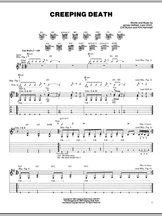 Tablature guitare Creeping Death de Metallica - Tablature Guitare