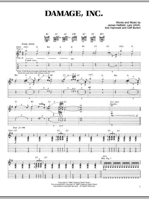 Tablature guitare Damage, Inc. de Metallica - Tablature Guitare