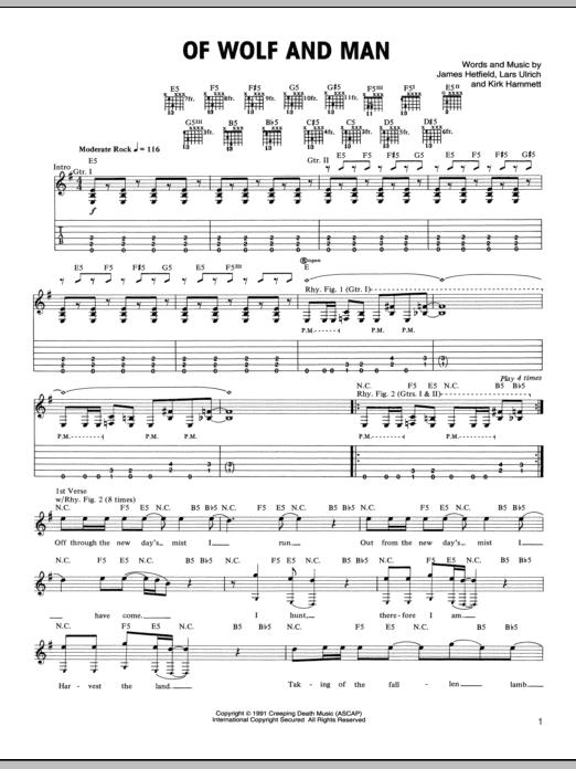 Tablature guitare Of Wolf And Man de Metallica - Tablature Guitare