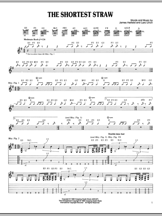 Tablature guitare The Shortest Straw de Metallica - Tablature Guitare
