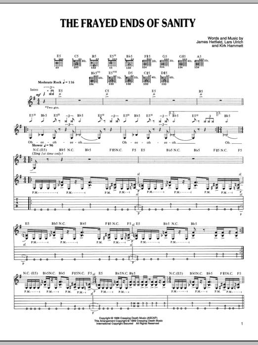 Tablature guitare The Frayed Ends Of Sanity de Metallica - Tablature Guitare