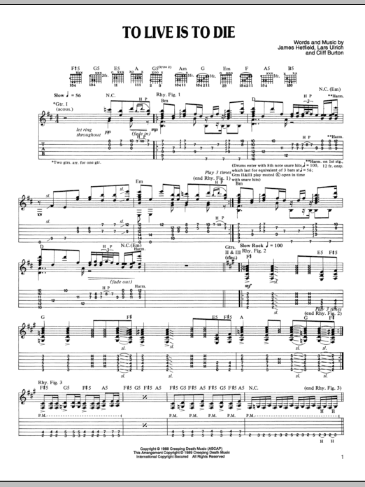 Tablature guitare To Live Is To Die de Metallica - Tablature Guitare