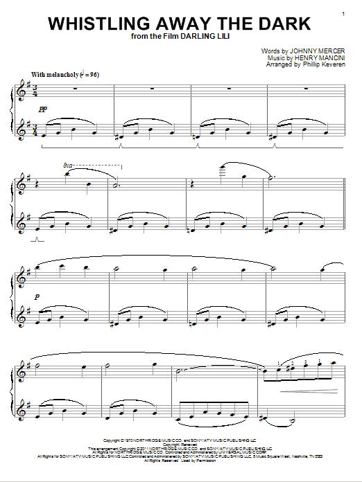 Partition piano Whistling Away The Dark de Henry Mancini - Piano Solo