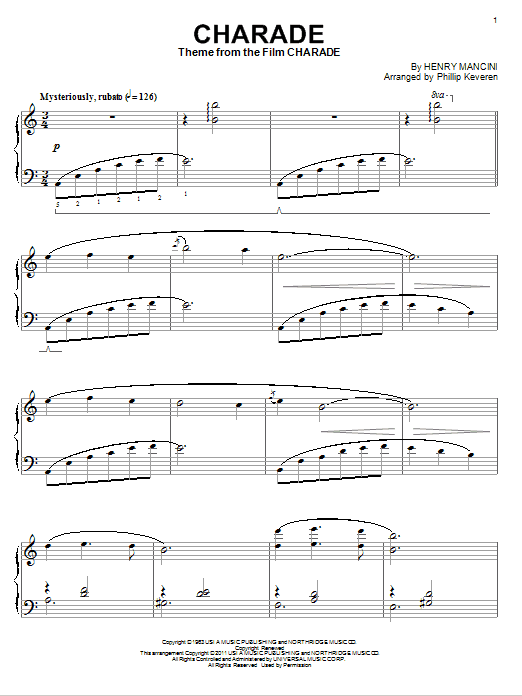 Partition piano Charade de Henry Mancini - Piano Solo