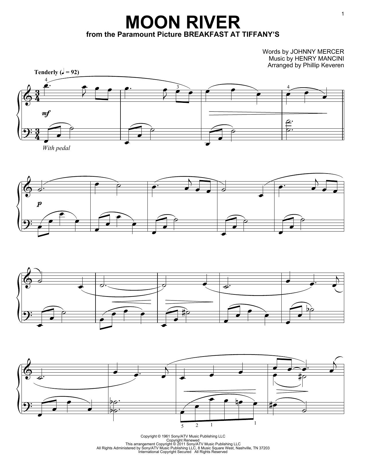 Partition piano Moon River de Phillip Keveren - Piano Solo