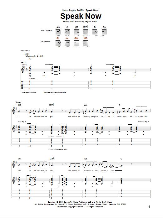 Tablature guitare Speak Now de Taylor Swift - Tablature Guitare
