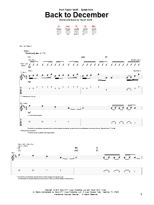 Tablature guitare Back To December de Taylor Swift - Tablature Guitare