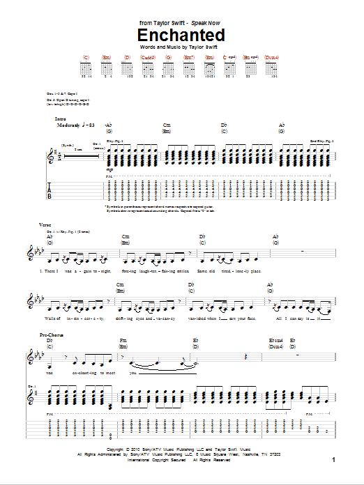 Tablature guitare Enchanted de Taylor Swift - Tablature Guitare