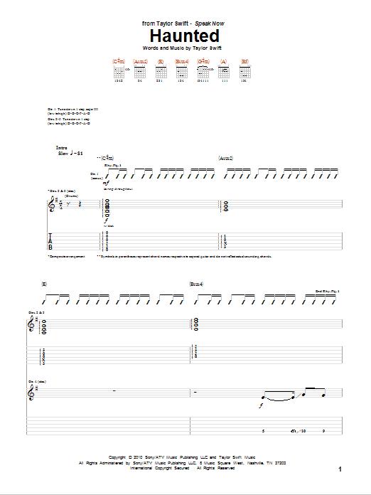 Tablature guitare Haunted de Taylor Swift - Tablature Guitare