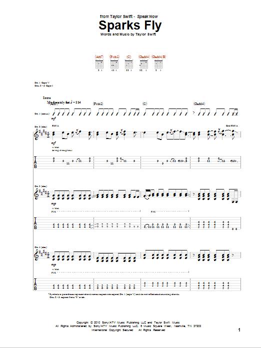 Tablature guitare Sparks Fly de Taylor Swift - Tablature Guitare