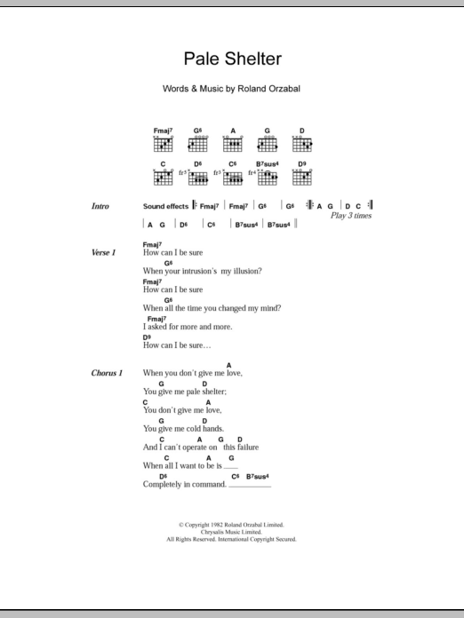Pale Shelter sheet music for guitar solo (chords, lyrics, melody) by Roland Orzabal