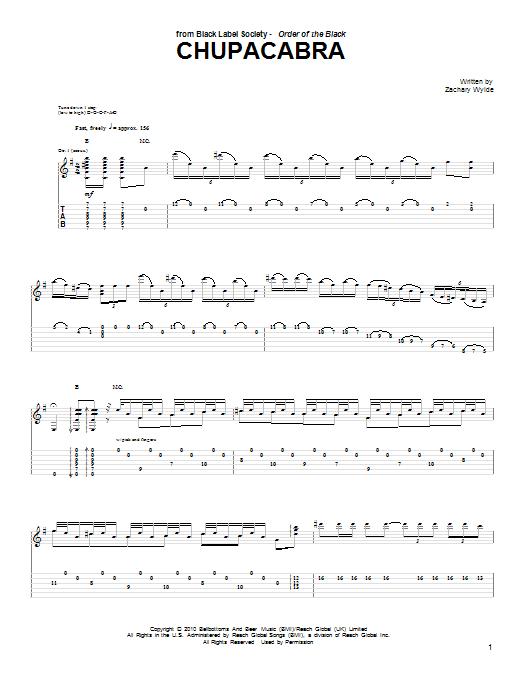 Tablature guitare Chupacabra de Black Label Society - Tablature Guitare
