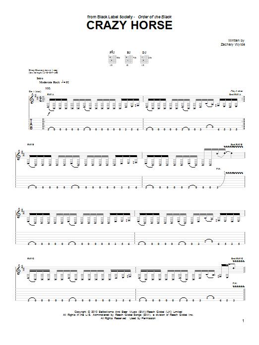 Tablature guitare Crazy Horse de Black Label Society - Tablature Guitare