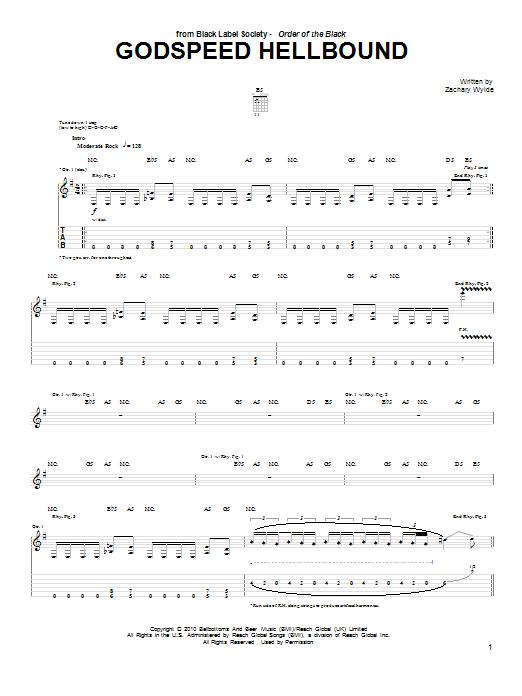 Tablature guitare Godspeed Hellbound de Black Label Society - Tablature Guitare