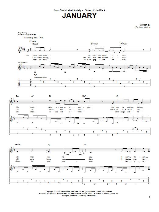 Tablature guitare January de Black Label Society - Tablature Guitare