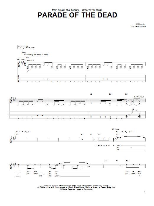 Tablature guitare Parade Of The Dead de Black Label Society - Tablature Guitare
