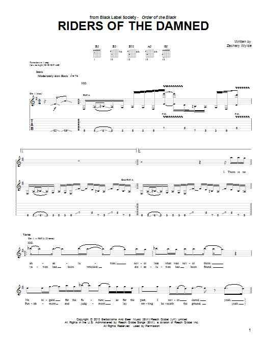 Tablature guitare Riders Of The Damned de Black Label Society - Tablature Guitare