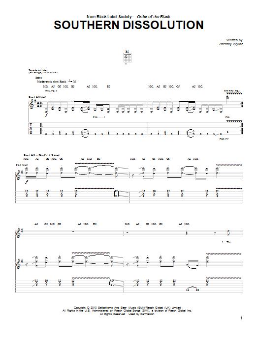 Tablature guitare Southern Dissolution de Black Label Society - Tablature Guitare