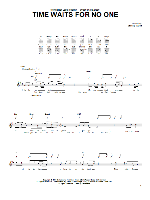 Tablature guitare Time Waits For No One de Black Label Society - Tablature Guitare