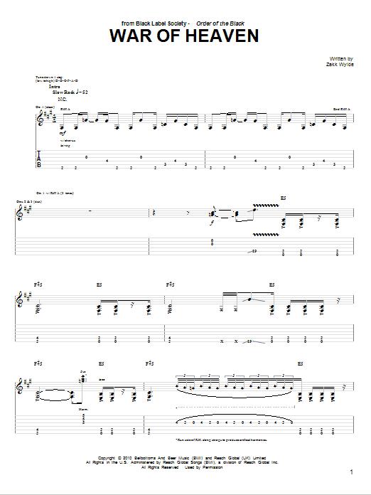 Tablature guitare War Of Heaven de Black Label Society - Tablature Guitare