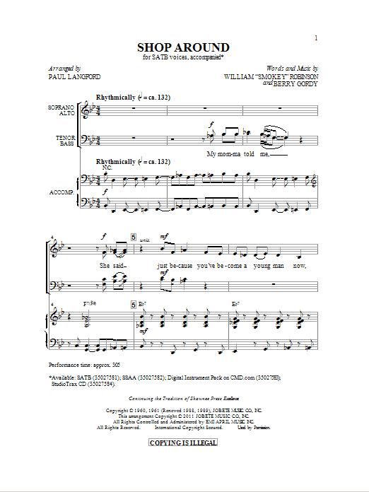 Partition chorale Shop Around de Smokey Robinson - SATB
