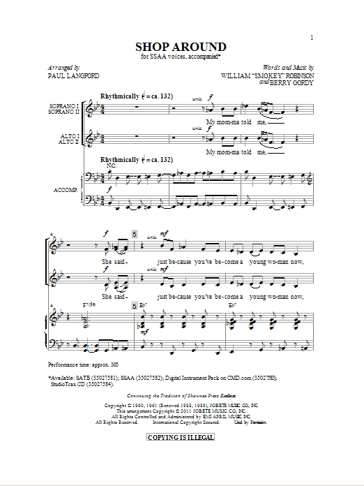 Partition chorale Shop Around de Smokey Robinson - SSA