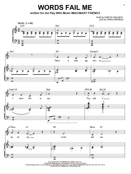 Partition piano Words Fail Me de Craig Carnelia - Piano Voix