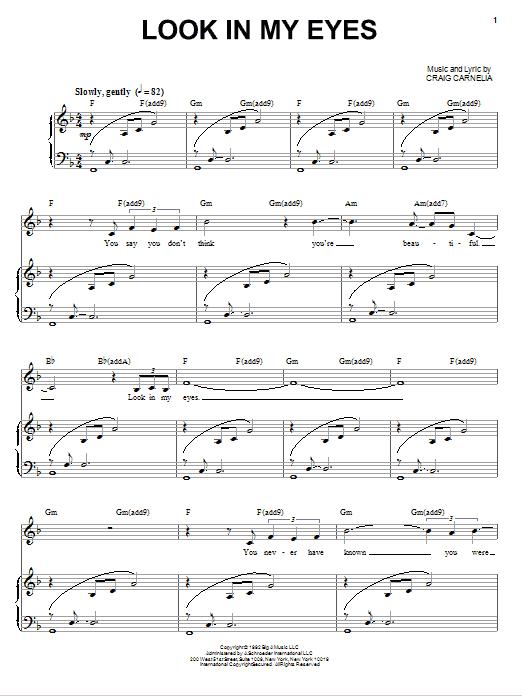 Partition piano Look In My Eyes de Craig Carnelia - Piano Voix