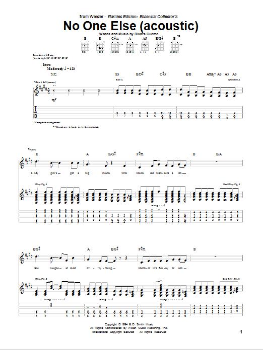 Tablature guitare No One Else de Weezer - Tablature Guitare