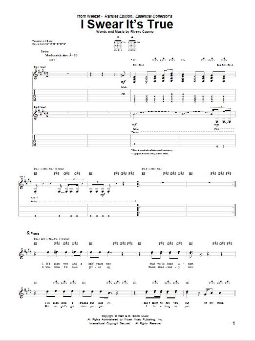 Tablature guitare I Swear It's True de Weezer - Tablature Guitare