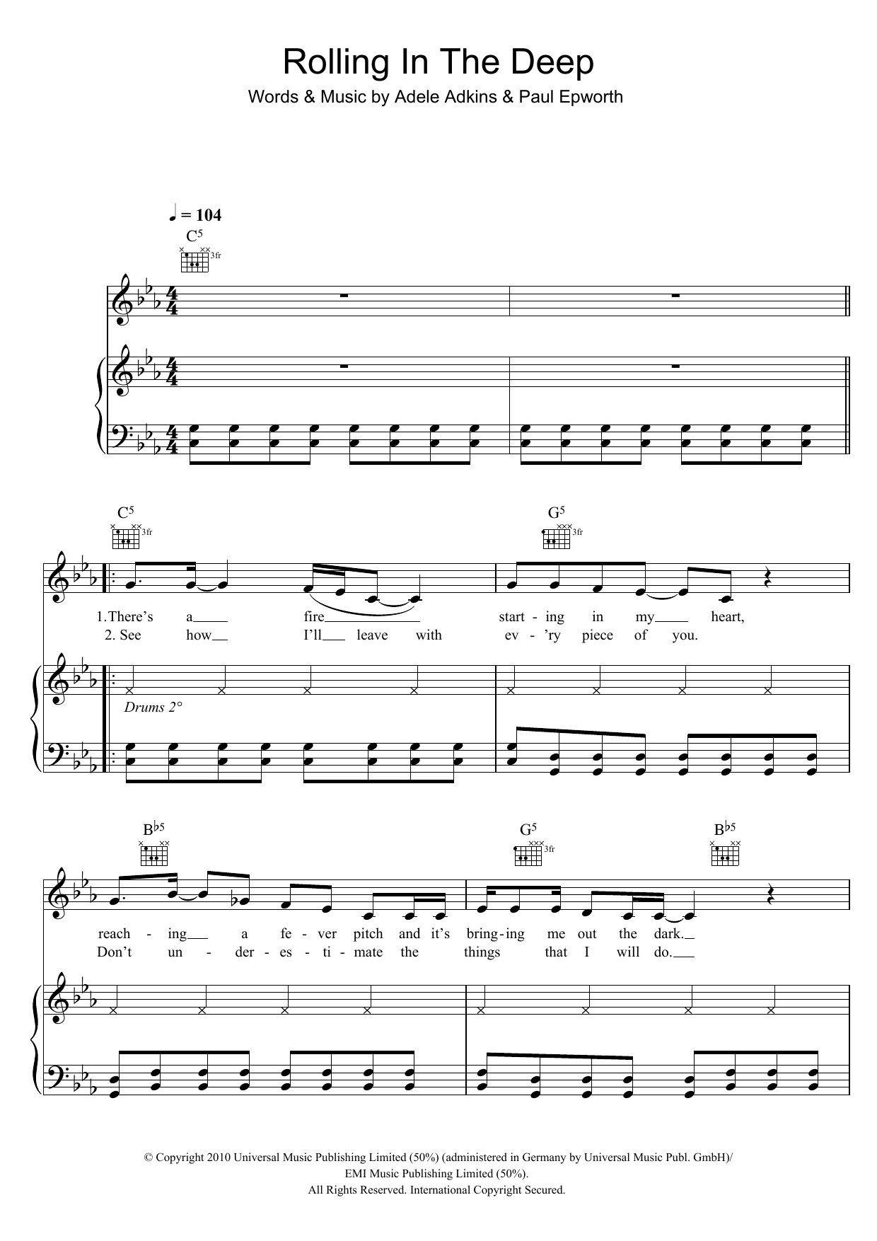 Rolling In The Deep sheet music for voice, piano or guitar by Paul Epworth