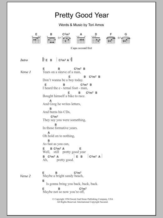 Pretty Good Year sheet music for guitar solo (chords, lyrics, melody) by Tori Amos