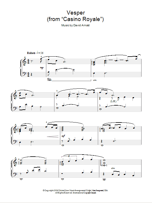 Vesper sheet music for piano solo (chords) by David Arnold