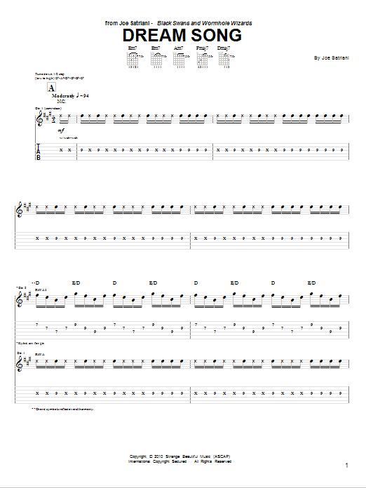 Tablature guitare Dream Song de Joe Satriani - Tablature Guitare