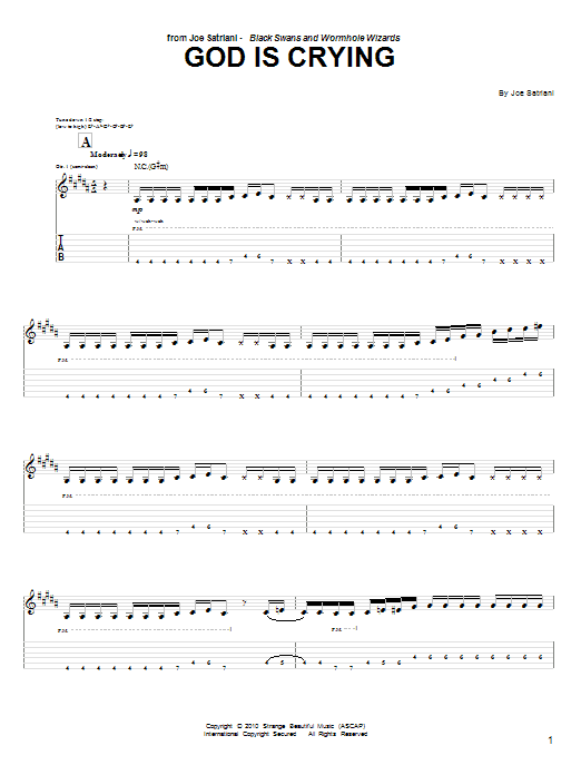 Tablature guitare God Is Crying de Joe Satriani - Tablature Guitare