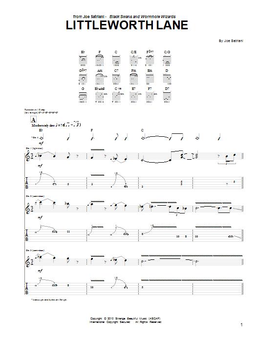 Tablature guitare Littleworth Lane de Joe Satriani - Tablature Guitare