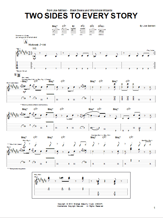 Tablature guitare Two Sides To Every Story de Joe Satriani - Tablature Guitare