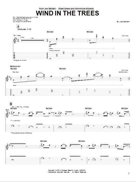 Tablature guitare Wind In The Trees de Joe Satriani - Tablature Guitare