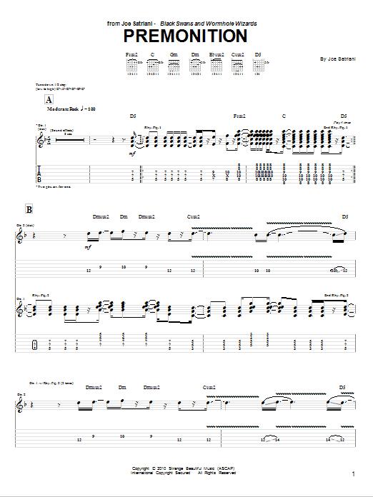 Tablature guitare Premonition de Joe Satriani - Tablature Guitare