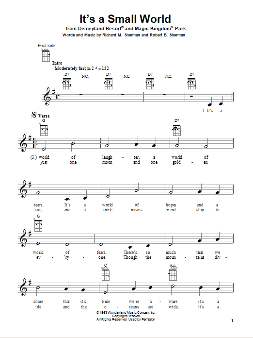 Tablature guitare It's A Small World de Sherman Brothers - Ukulele
