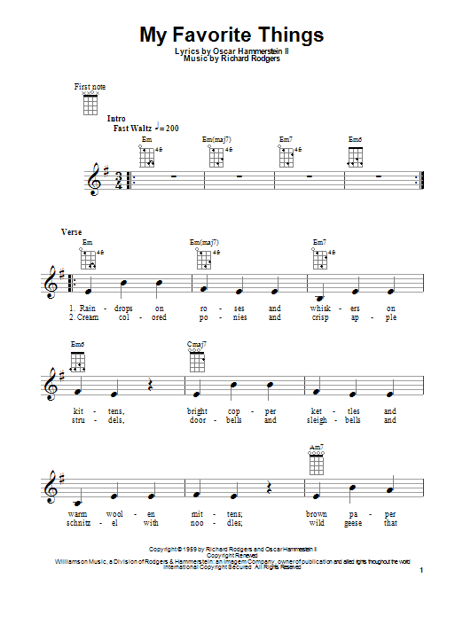 Tablature guitare My Favorite Things (from The Sound Of Music) de Rodgers & Hammerstein - Ukulele